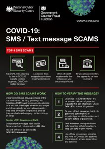 Scam warning poster on false SMS/ test Covid-19 information