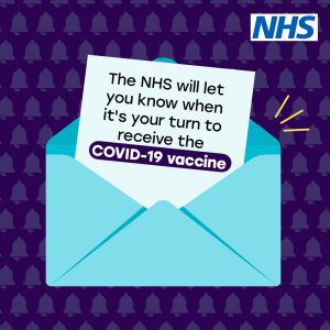 An envelope with the message 'The NHS will let you know when it's your turn to receive the COVID-19 vaccine' sticking out.